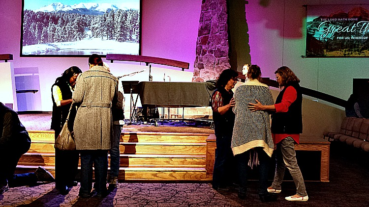 People being healed at Charis Bible College