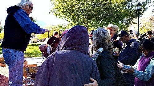 Arthur Blessitt healing people in Jesus name in downtown Colorado Springs